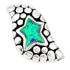 2.03cts green australian opal (lab) 925 sterling silver pendant a92706 c24372