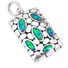 1.12cts green australian opal (lab) 925 sterling silver pendant a92707 c24344