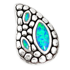 2.72cts green australian opal (lab) 925 sterling silver pendant a92733 c24324