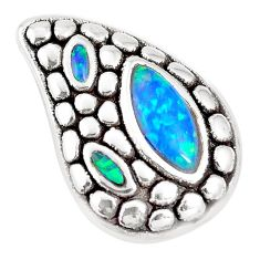 3.05cts green australian opal (lab) 925 sterling silver pendant a92761 c24355