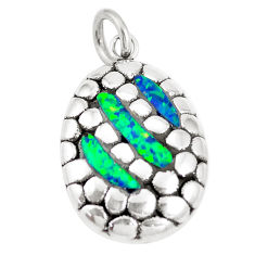 2.81cts green australian opal (lab) 925 sterling silver pendant a92779 c24359