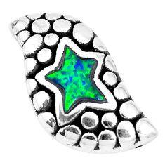 1.81cts green australian opal (lab) 925 sterling silver pendant a92782 c24358