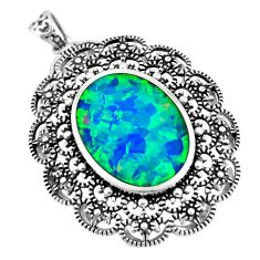 7.23cts green australian opal (lab) 925 sterling silver pendant a92796 c24393