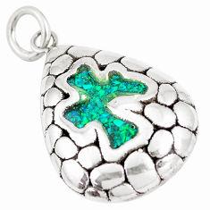 3.32cts green australian opal (lab) 925 sterling silver pendant jewelry c24305