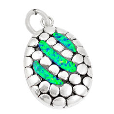 2.95cts green australian opal (lab) 925 sterling silver pendant jewelry c24315
