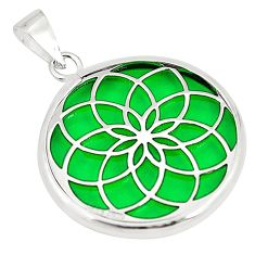 Green bling topaz (lab) 925 sterling silver pendant jewelry c23197
