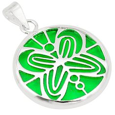 Green bling topaz (lab) 925 sterling silver pendant jewelry c23241