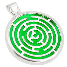 Green bling topaz (lab) 925 sterling silver pendant jewelry c23245