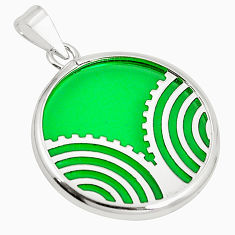 Green bling topaz (lab) 925 sterling silver pendant jewelry c23246