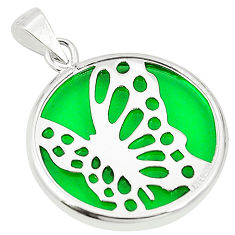 Green bling topaz (lab) 925 sterling silver pendant jewelry c23250