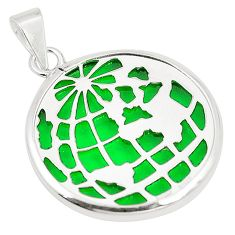 Green bling topaz (lab) 925 sterling silver pendant jewelry c23256