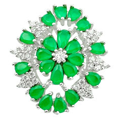 Green chalcedony topaz 925 sterling silver pendant c19069