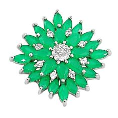 Green chalcedony topaz 925 sterling silver pendant c19109