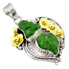 15.25cts green chrome diopside rough 925 sterling silver 14k gold pendant d39170