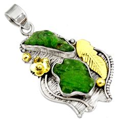 Clearance Sale- 14.83cts green chrome diopside rough 925 sterling silver 14k gold pendant d39172