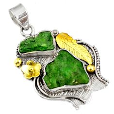 Clearance Sale- 17.81cts green chrome diopside rough 925 sterling silver 14k gold pendant d39173