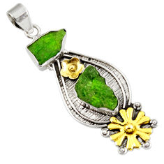 Clearance Sale- 13.41cts green chrome diopside rough 925 sterling silver 14k gold pendant d39176