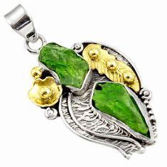 14.40cts green chrome diopside rough 925 sterling silver 14k gold pendant d39177