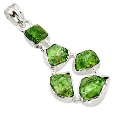 18.94cts green chrome diopside rough 925 sterling silver pendant jewelry r41010