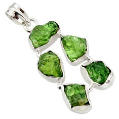18.36cts green chrome diopside rough 925 sterling silver pendant jewelry r41014
