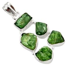20.33cts green chrome diopside rough 925 sterling silver pendant jewelry r41015