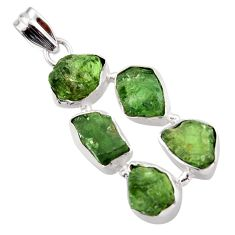 20.86cts green chrome diopside rough 925 sterling silver pendant jewelry r41016