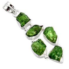 23.06cts green chrome diopside rough 925 sterling silver pendant jewelry r41019