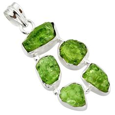 20.76cts green chrome diopside rough 925 sterling silver pendant jewelry r41020