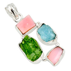 15.02cts green chrome diopside rough aquamarine rough 925 silver pendant r26849