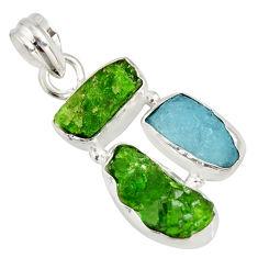 11.26cts green chrome diopside rough aquamarine rough 925 silver pendant r26851