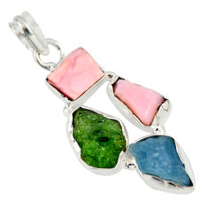 13.66cts green chrome diopside rough aquamarine rough 925 silver pendant r26854
