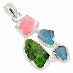 16.87cts green chrome diopside rough aquamarine rough 925 silver pendant r26857
