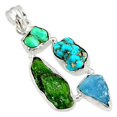 18.68cts green chrome diopside rough aquamarine rough 925 silver pendant r26859