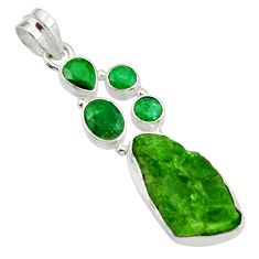 Clearance Sale- 20.65cts green chrome diopside rough emerald 925 sterling silver pendant d43513