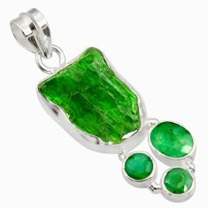 Clearance Sale- 18.68cts green chrome diopside rough emerald 925 sterling silver pendant d43518