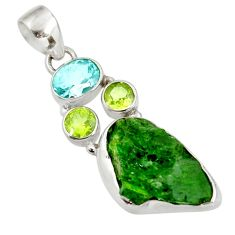 Clearance Sale- 13.55cts green chrome diopside rough peridot 925 sterling silver pendant d39166