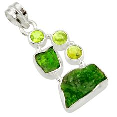 Clearance Sale- 13.27cts green chrome diopside rough peridot 925 sterling silver pendant d43501