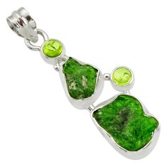 Clearance Sale- 14.90cts green chrome diopside rough peridot 925 sterling silver pendant d43503