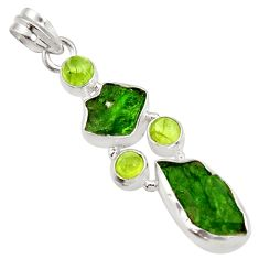 16.54cts green chrome diopside rough peridot 925 sterling silver pendant d43506