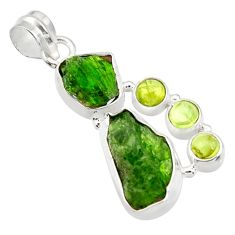 Clearance Sale- 17.93cts green chrome diopside rough peridot 925 sterling silver pendant d43509