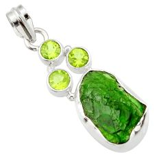 Clearance Sale- 14.57cts green chrome diopside rough peridot 925 sterling silver pendant d43510