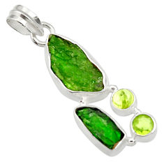 Clearance Sale- 14.72cts green chrome diopside rough peridot 925 sterling silver pendant d43512