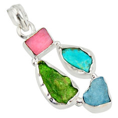 12.99cts green chrome diopside rough pink opal 925 silver pendant r26842