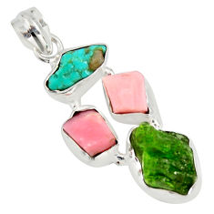 16.06cts green chrome diopside rough pink opal 925 silver pendant r26843