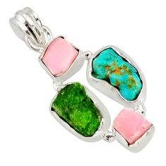 12.60cts green chrome diopside rough pink opal 925 silver pendant r26845