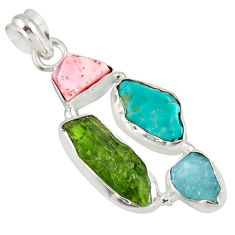14.45cts green chrome diopside rough pink opal 925 silver pendant r26853
