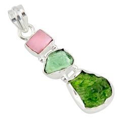 11.69cts green chrome diopside rough tourmaline rough 925 silver pendant r26846