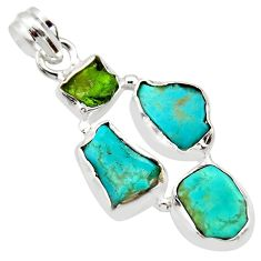 13.70cts green chrome diopside rough turquoise tibetan 925 silver pendant r40321
