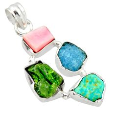 15.08cts green chrome diopside rough turquoise tibetan 925 silver pendant r40322
