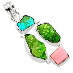 16.62cts green chrome diopside rough turquoise tibetan 925 silver pendant r40329